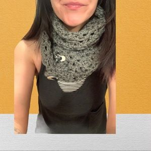 2/40$$ Grey Knitted Scarf
